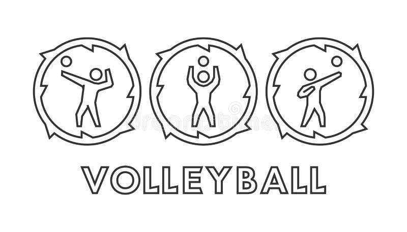Διανυσματικά λογότυπο και εικονίδια πετοσφαίρισης γραμμών Σκιαγραφίες των αριθμών vo ελεύθερη απεικόνιση δικαιώματος