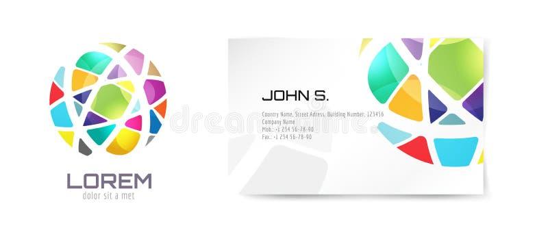 Διανυσματικά λογότυπο σφαιρών και πρότυπο επαγγελματικών καρτών ελεύθερη απεικόνιση δικαιώματος