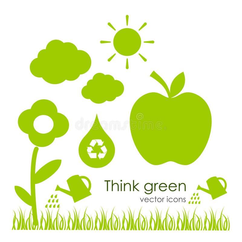 Διανυσματικά οικολογικά εικονίδια ελεύθερη απεικόνιση δικαιώματος