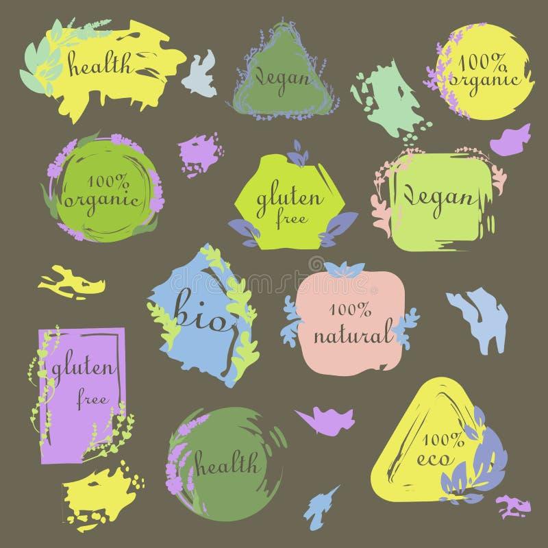 Διανυσματικά οργανικά λογότυπα ή σημάδια απεικόνιση αποθεμάτων