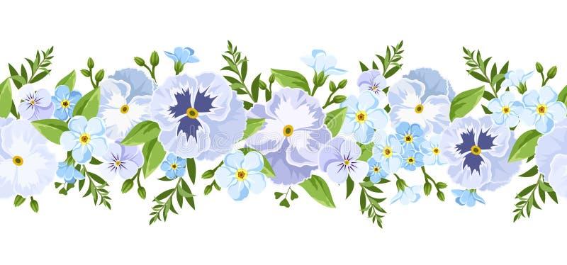 Διανυσματικά οριζόντια άνευ ραφής σύνορα με τα μπλε pansy και forget-me-not λουλούδια διανυσματική απεικόνιση