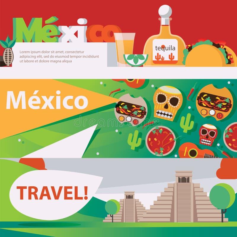 Διανυσματικά οριζόντια εμβλήματα που αφιερώνονται στα μεξικάνικα τρόφιμα, drind και τον πολιτισμό Φωτεινό σχέδιο ταξιδιού και ψυχ απεικόνιση αποθεμάτων