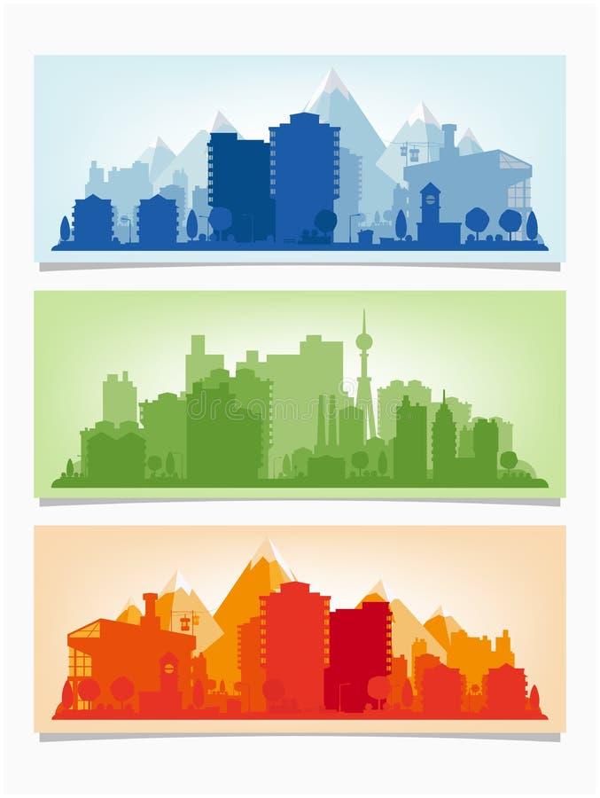 Διανυσματικά οριζόντια εμβλήματα της εικονικής παράστασης πόλης Αστικός απεικόνιση αποθεμάτων