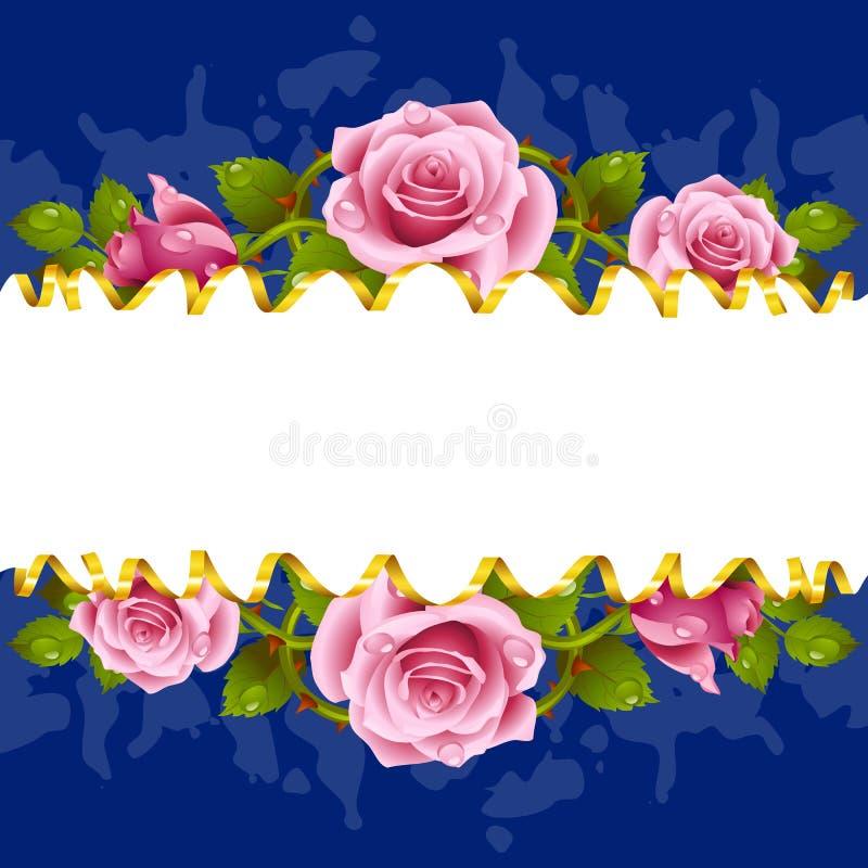 Διανυσματικά οριζόντια ρόδινα τριαντάφυλλα πλαισίων whith διανυσματική απεικόνιση