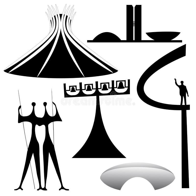 Διανυσματικά ορόσημα της Μπραζίλια απεικόνιση αποθεμάτων