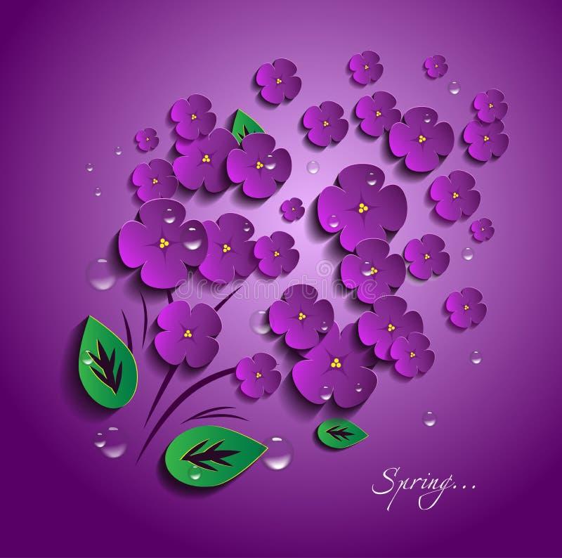 Διανυσματικά λουλούδια σε τρισδιάστατο διανυσματική απεικόνιση