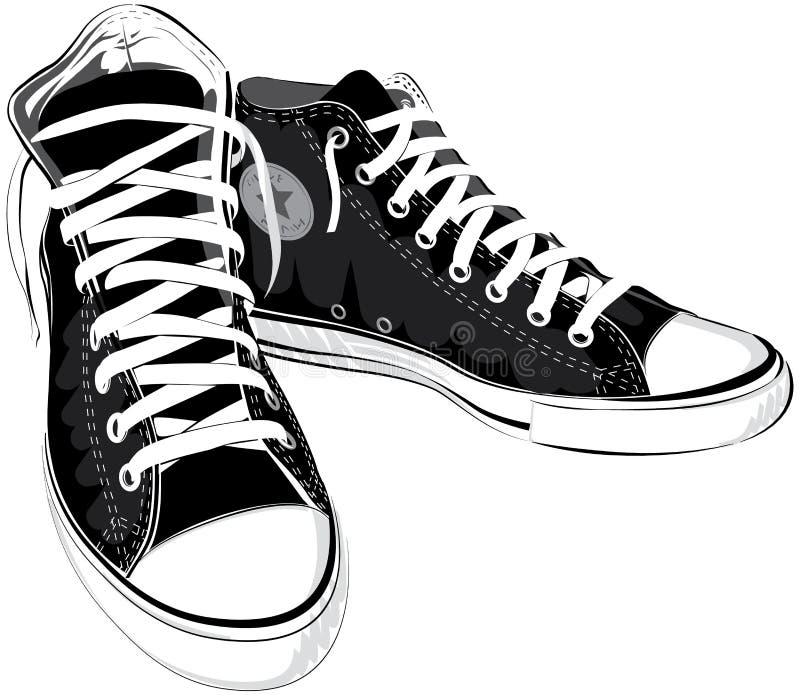 Διανυσματικά πάνινα παπούτσια παπουτσιών απεικόνισης εκλεκτής ποιότητας μαύρα ελεύθερη απεικόνιση δικαιώματος