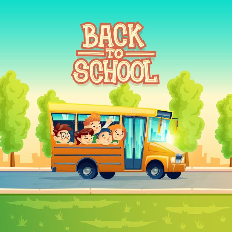 Διανυσματικά παιδιά κινούμενων σχεδίων πίσω στο σχολείο στο κίτρινο λεωφορείο απεικόνιση αποθεμάτων