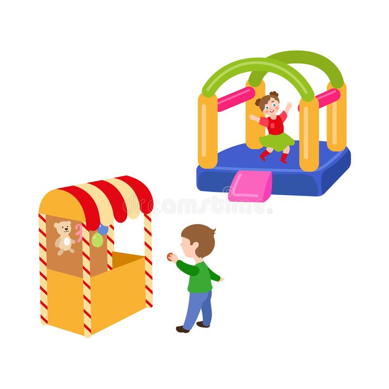 Διανυσματικά παιδιά στο σύνολο λούνα παρκ διανυσματική απεικόνιση