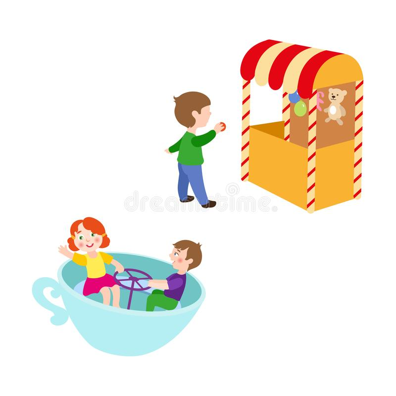 Διανυσματικά παιδιά στο σύνολο λούνα παρκ ελεύθερη απεικόνιση δικαιώματος