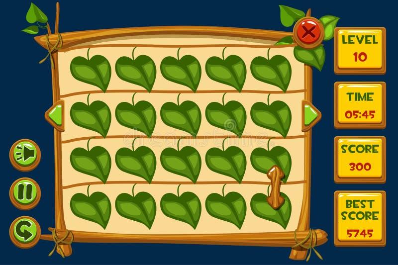 Διανυσματικά παιχνίδια διεπαφών Match3 και κουμπιά στο ξύλινο ύφος, γραφικά προτερήματα GUI απεικόνιση αποθεμάτων