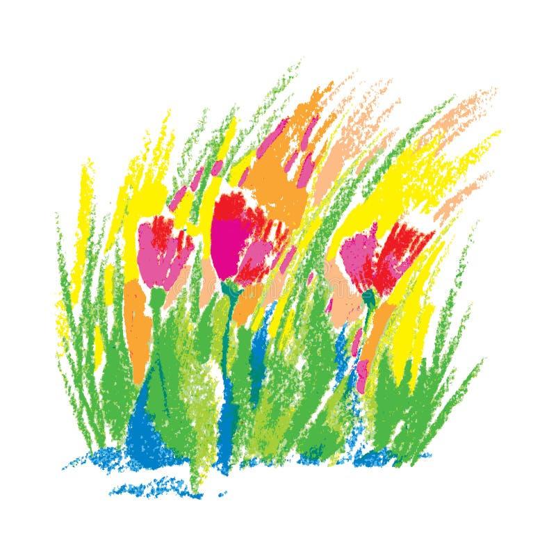 Διανυσματικά παιδιάστικα τυποποιημένα κόκκινα λουλούδια κρητιδογραφιών πετρελαίου απεικόνισης που απομονώνονται στο άσπρο υπόβαθρ ελεύθερη απεικόνιση δικαιώματος