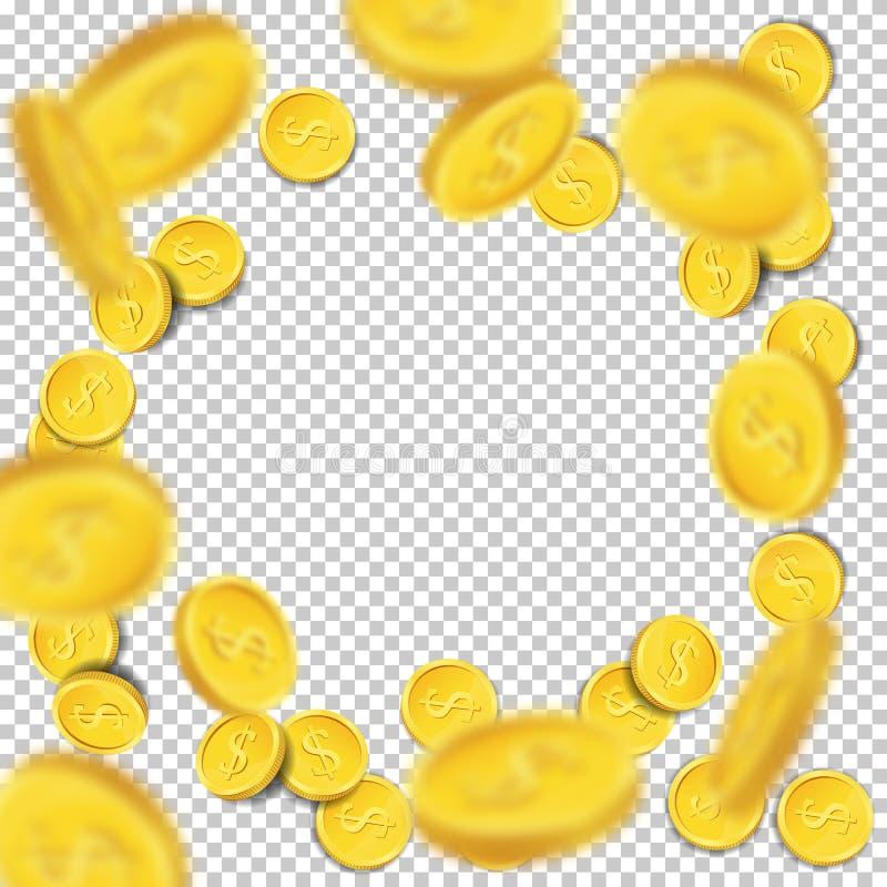 Διανυσματικά πετώντας νομίσματα στο διαφανές υπόβαθρο διανυσματική απεικόνιση