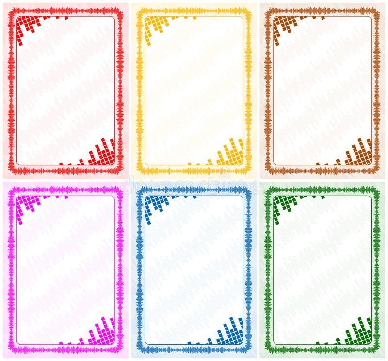 Διανυσματικά πλαίσιο και σύνορα με τα πολύχρωμα επίπεδα όγκου για το δίπλωμα, πιστοποιητικό απεικόνιση αποθεμάτων