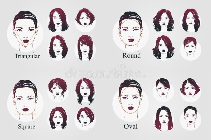 Διανυσματικά πορτρέτα εικονιδίων γυναικών συνόλου όμορφα με το διαφορετικό κούρεμα και τους ωοειδείς, στρογγυλούς, τριγωνικούς, τ απεικόνιση αποθεμάτων