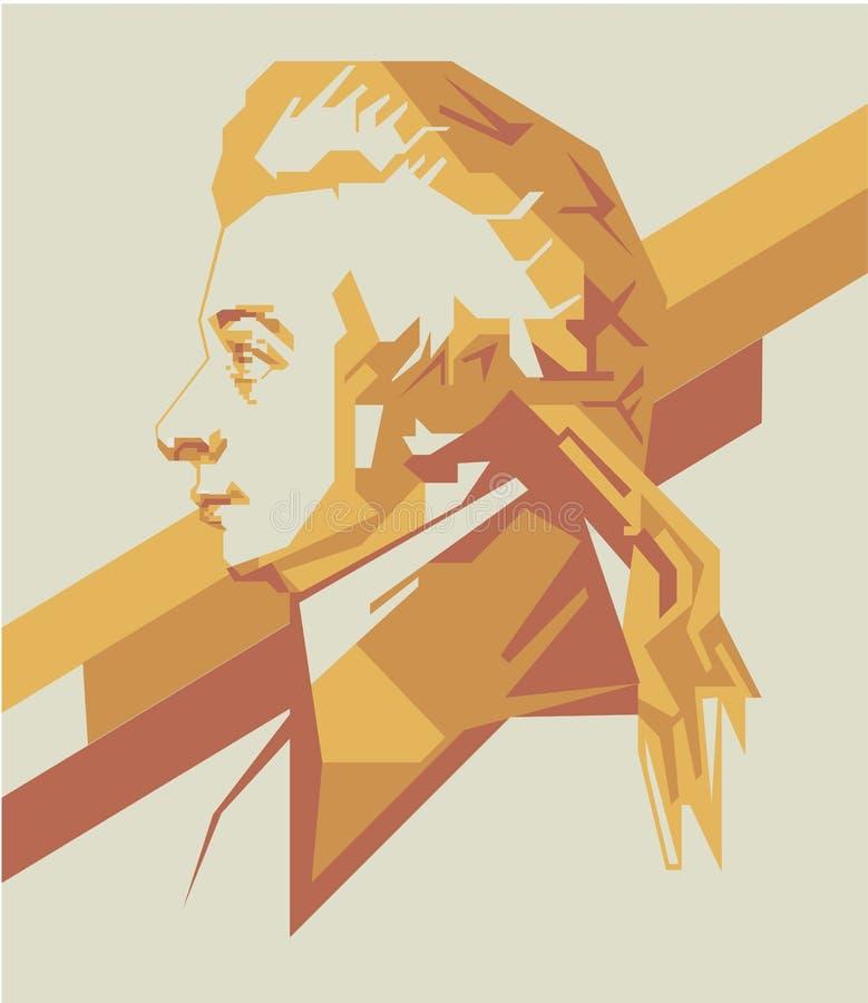 Διανυσματικά πορτρέτο Μότσαρτ amadeus του Βόλφγκανγκ/eps διανυσματική απεικόνιση