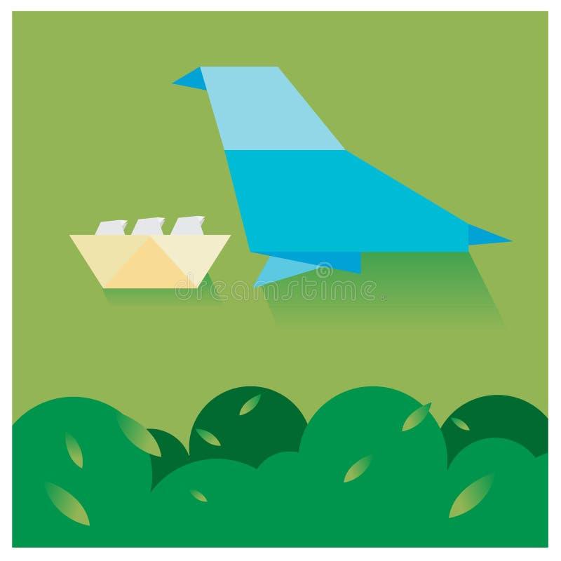 Διανυσματικά πουλιά εγγράφου που τοποθετούνται τα δέντρα και τον ουρανό με λίγα διανυσματική απεικόνιση