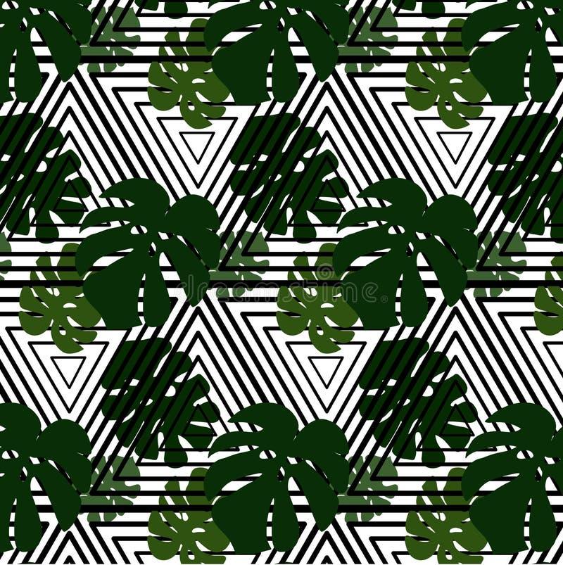 Διανυσματικά πράσινα φύλλα στο ριγωτό υπόβαθρο Μονοχρωματικές άσπρες μαύρες γραμμές τριγώνων με τα φύλλα δέντρων σύγχρονη σύσταση διανυσματική απεικόνιση