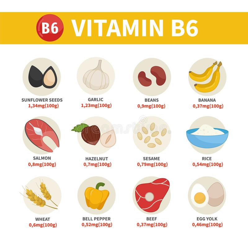 Διανυσματικά προϊόντα αφισών με τη βιταμίνη B6 ελεύθερη απεικόνιση δικαιώματος