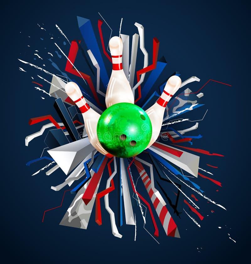Διανυσματικά πρωταθλήματα μπόουλινγκ με τις πολύχρωμες τρισδιάστατες σφαίρες και τις καρφίτσες μπόουλινγκ ελεύθερη απεικόνιση δικαιώματος