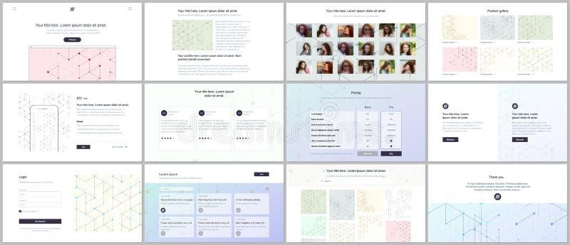 Διανυσματικά πρότυπα για το σχέδιο ιστοχώρου, ελάχιστες παρουσιάσεις, χαρτοφυλάκιο UI, UX, GUI Σχέδιο τέχνης γραμμών με τη σύνδεσ διανυσματική απεικόνιση