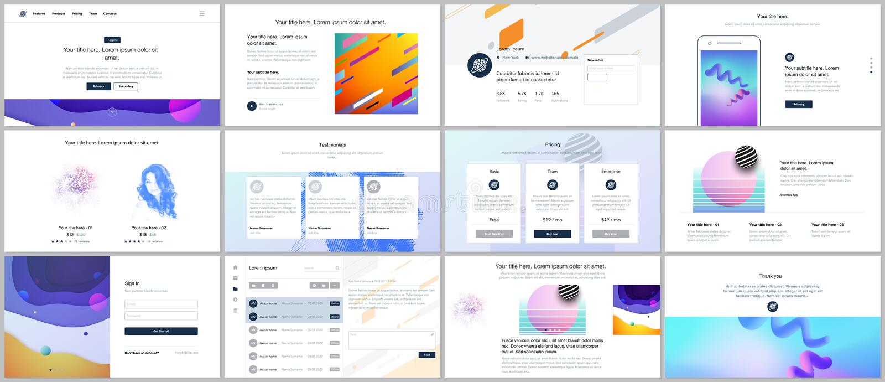 Διανυσματικά πρότυπα για το σχέδιο ιστοχώρου, ελάχιστες παρουσιάσεις, χαρτοφυλάκιο με τα γεωμετρικά ζωηρόχρωμα σχέδια, κλίσεις, ρ διανυσματική απεικόνιση