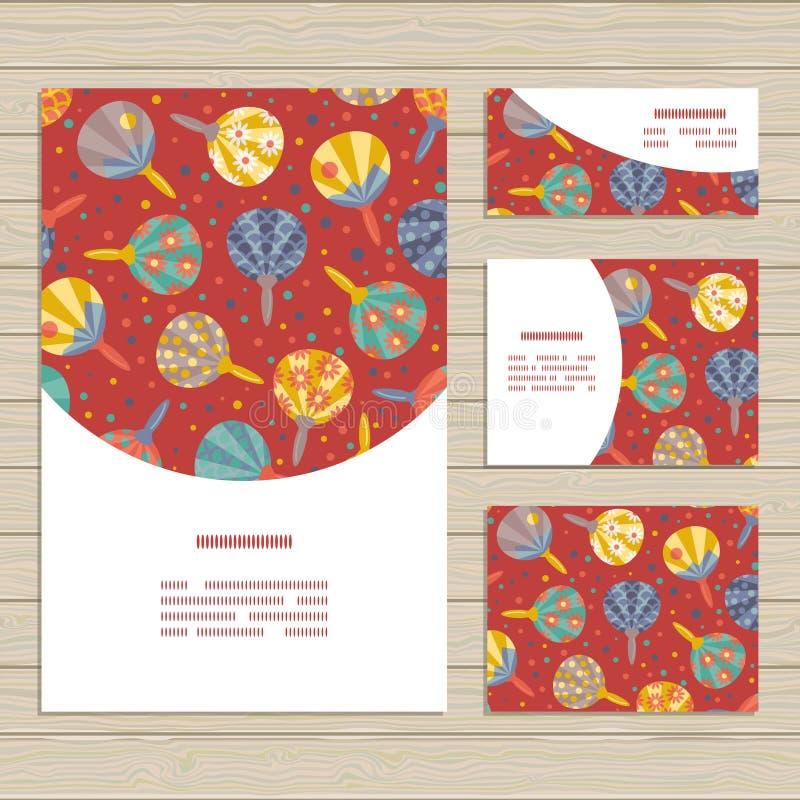 Διανυσματικά πρότυπα καρτών με την ιαπωνική διακόσμηση ανεμιστήρων διανυσματική απεικόνιση