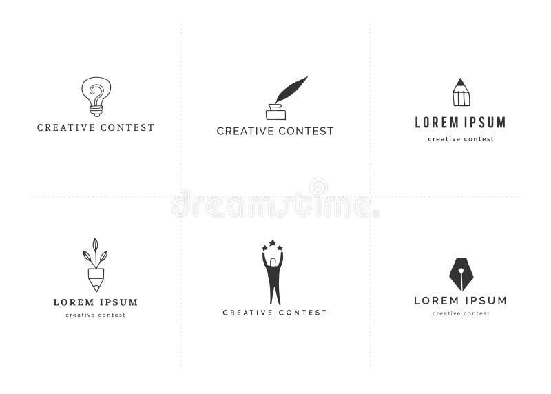Διανυσματικά πρότυπα λογότυπων Premade Σύνολο χρωματισμένων συρμένων χέρι εικονιδίων Δημιουργικός διαγωνισμός διανυσματική απεικόνιση