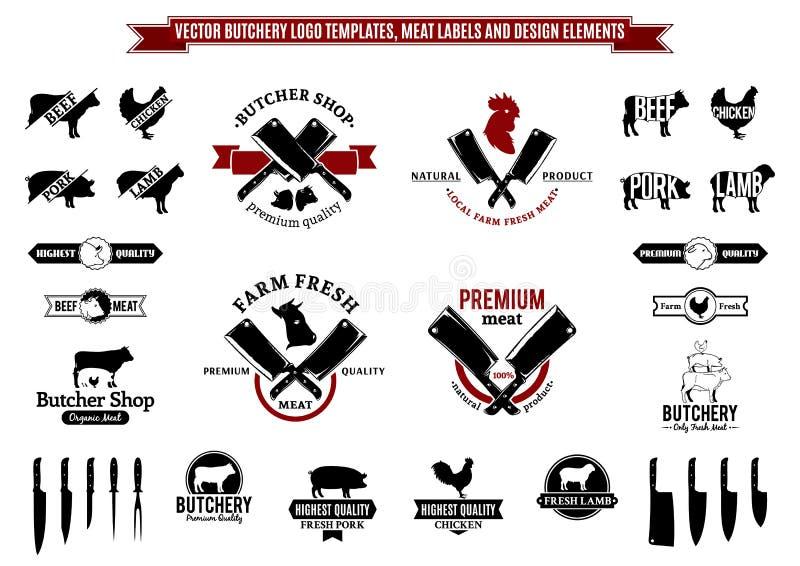 Διανυσματικά πρότυπα λογότυπων κρεοπωλείων, ετικέτες, εικονίδια και στοιχεία σχεδίου ελεύθερη απεικόνιση δικαιώματος