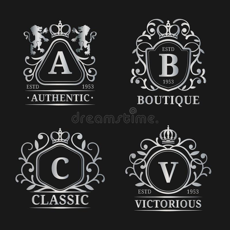 Διανυσματικά πρότυπα λογότυπων μονογραμμάτων Σχέδιο επιστολών πολυτέλειας Χαριτωμένοι εκλεκτής ποιότητας χαρακτήρες με την κορώνα διανυσματική απεικόνιση
