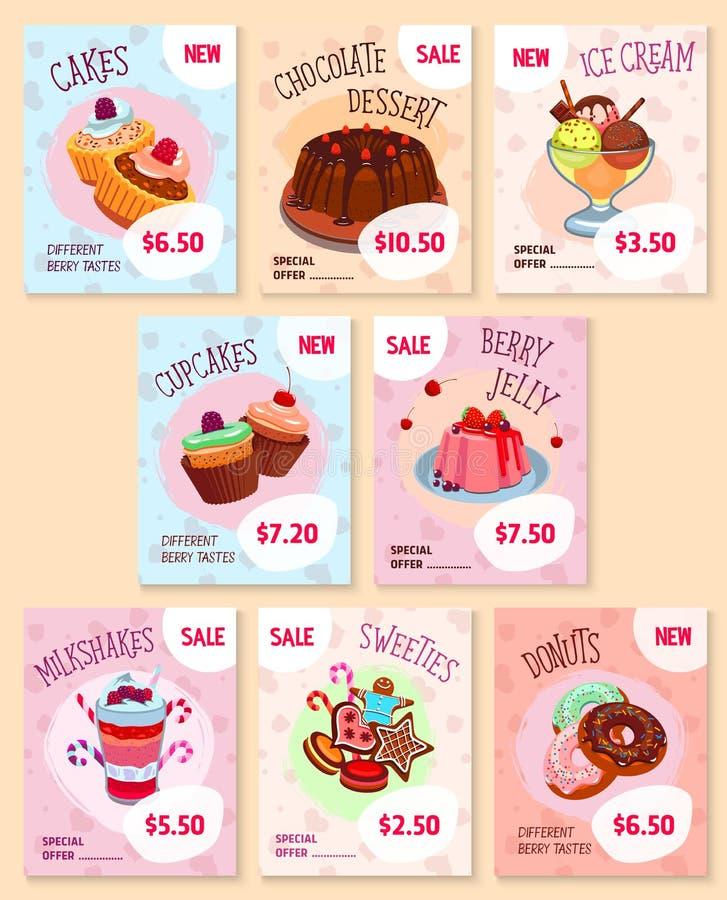 Διανυσματικά πρότυπα τιμών επιδορπίων αρτοποιείων καθορισμένα απεικόνιση αποθεμάτων