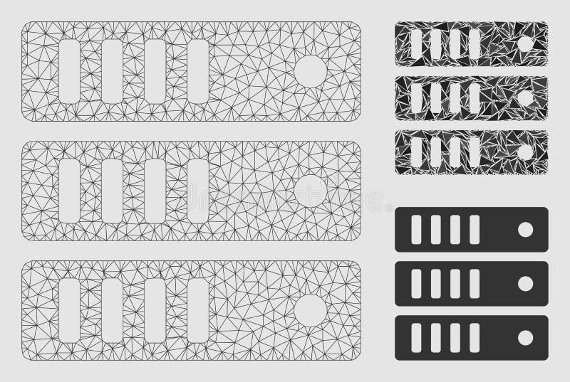 Διανυσματικά πρότυπο δικτύων πλέγματος κεντρικών υπολογιστών βάσεων δεδομένων και εικονίδιο μωσαϊκών τριγώνων ελεύθερη απεικόνιση δικαιώματος