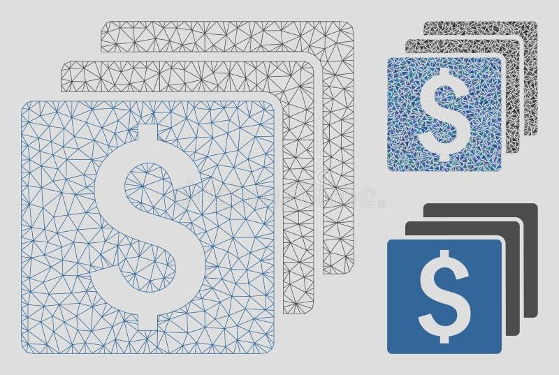 Διανυσματικά πρότυπο σφαγίων πλέγματος πόρων χρηματοδότησης και εικονίδιο μωσαϊκών τριγώνων διανυσματική απεικόνιση