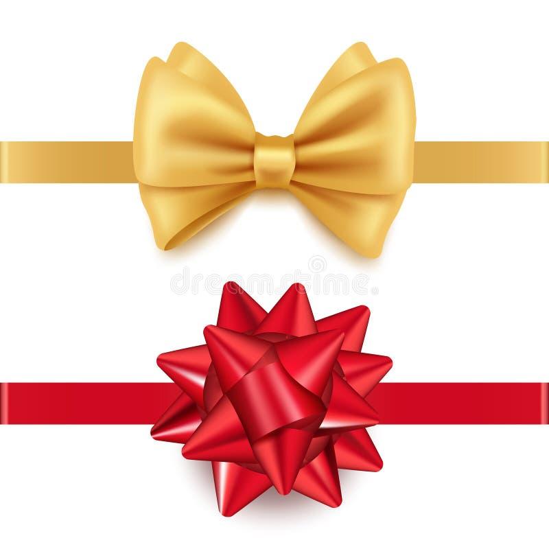 Διανυσματικά ρεαλιστικά κόκκινα και χρυσά τόξα δώρων που απομονώνονται στο άσπρο υπόβαθρο ελεύθερη απεικόνιση δικαιώματος