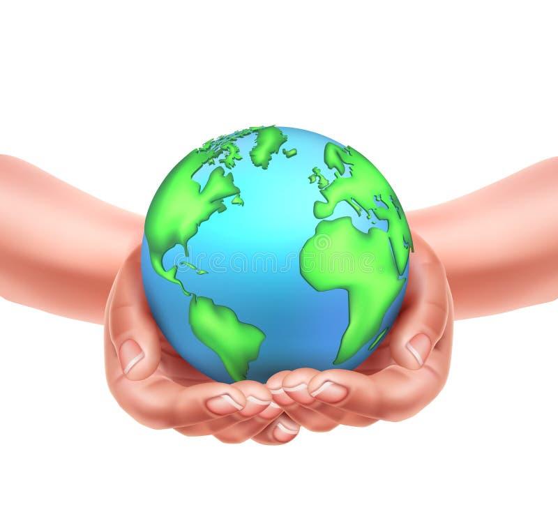 Διανυσματικά ρεαλιστικά χέρια που κρατούν το eco γήινων πλανητών απεικόνιση αποθεμάτων