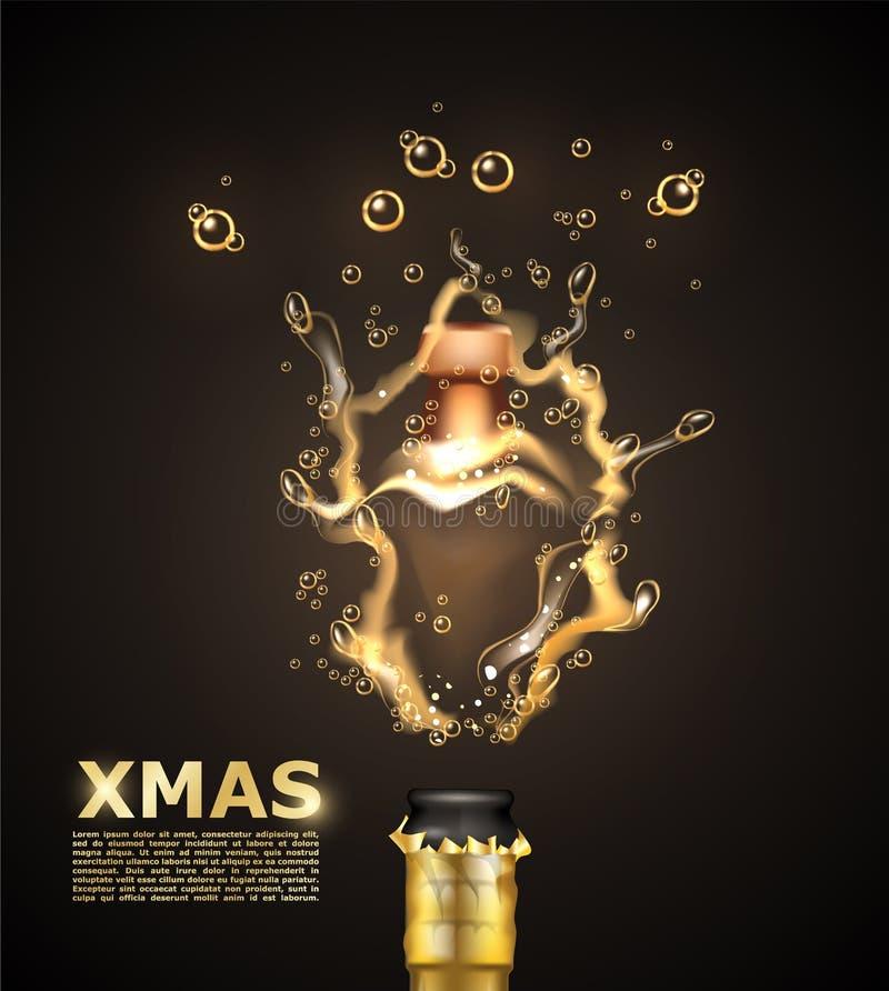 Διανυσματικά ρεαλιστικά Χριστούγεννα κινηματογραφήσεων σε πρώτο πλάνο έκρηξης σαμπάνιας απεικόνιση αποθεμάτων