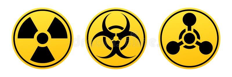 Διανυσματικά σημάδια κινδύνου Σημάδι ακτινοβολίας, σημάδι Biohazard, χημικό σημάδι όπλων διανυσματική απεικόνιση