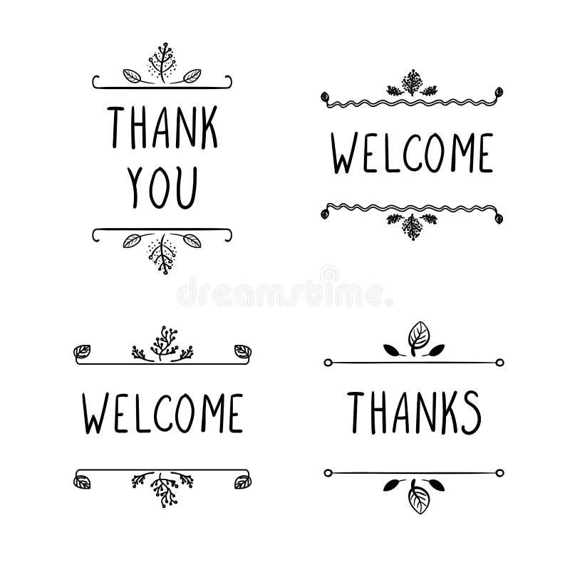 Διανυσματικά σημάδια Doodle: Η υποδοχή, ευχαριστίες και σας ευχαριστεί, μαύρα σχέδια περιλήψεων που απομονώνονται διανυσματική απεικόνιση