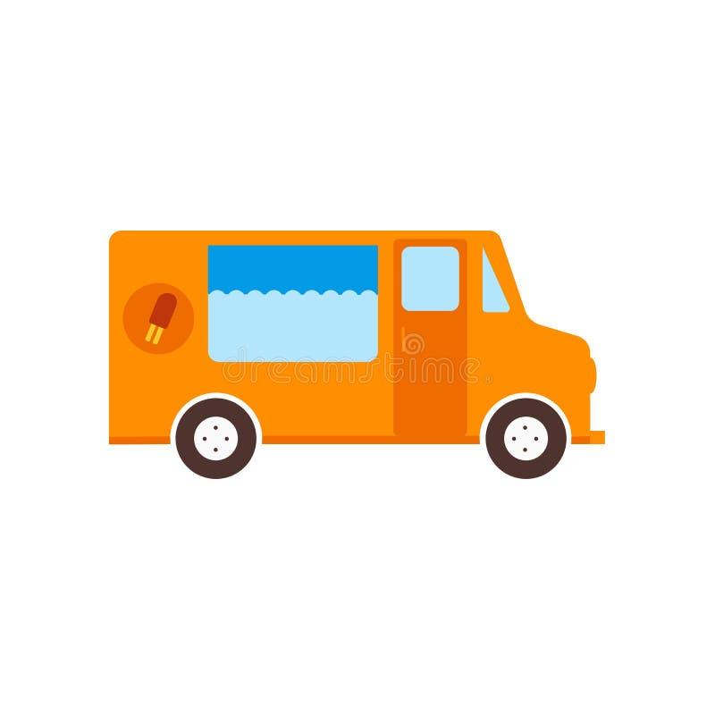 Διανυσματικά σημάδι και σύμβολο παγωτού van icon που απομονώνονται στο άσπρο υπόβαθρο, έννοια παγωτού van logo απεικόνιση αποθεμάτων