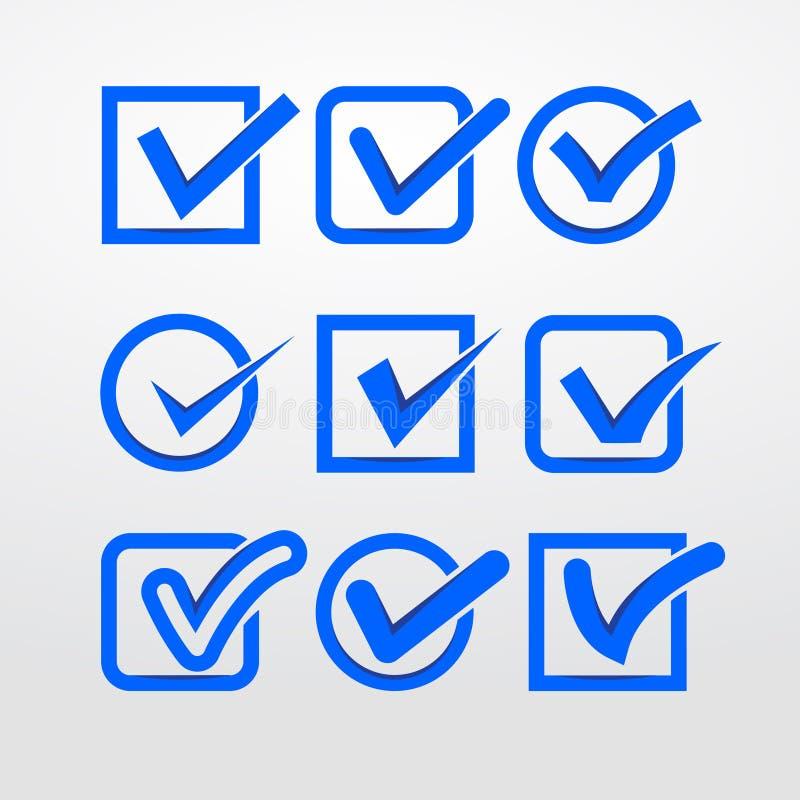 Διανυσματικά σημάδια ελέγχου απεικόνιση αποθεμάτων