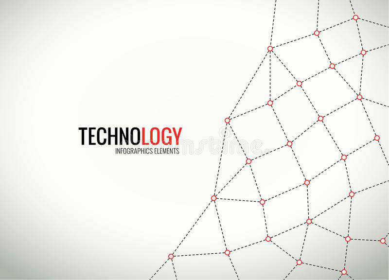 Διανυσματικά σημεία με τις συνδέσεις που χτίζουν ένα πλέγμα διανυσματική απεικόνιση