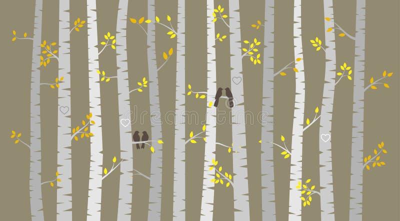 Διανυσματικά σημύδα ή δέντρα της Aspen με τα φύλλα φθινοπώρου και τα πουλιά αγάπης απεικόνιση αποθεμάτων