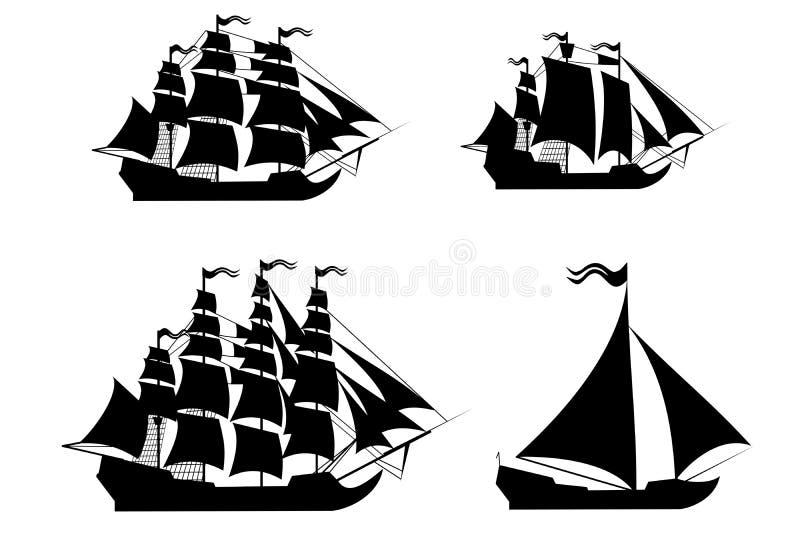 Διανυσματικά σκάφη που τίθενται με τα χωριστά editable στοιχεία. ελεύθερη απεικόνιση δικαιώματος