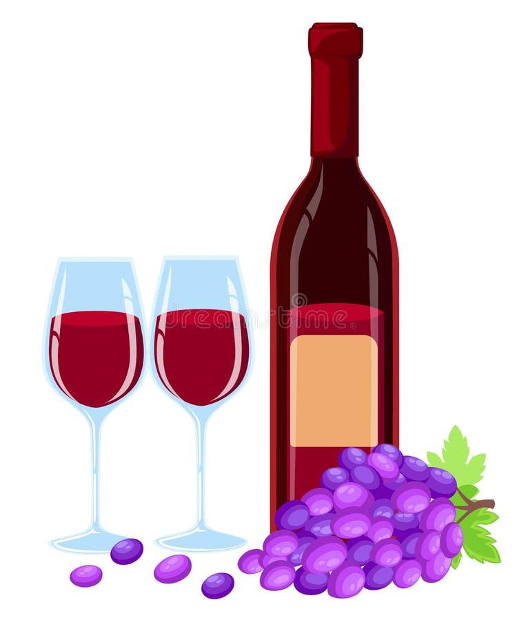 Διανυσματικά σταφύλια brunch με τα φύλλα, το γυαλί κρασιού και το μπουκάλι του illustartion κόκκινου κρασιού Πρότυπο σχεδίου σε E διανυσματική απεικόνιση