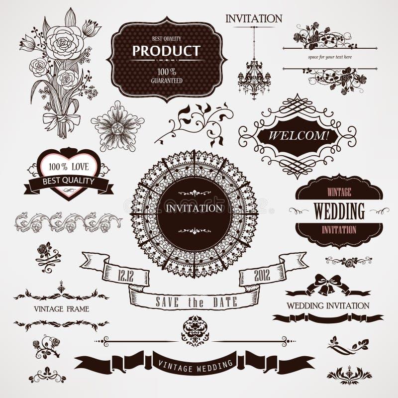 Διανυσματικά στοιχεία γαμήλιου σχεδίου και καλλιγραφικές διακοσμήσεις σελίδων απεικόνιση αποθεμάτων