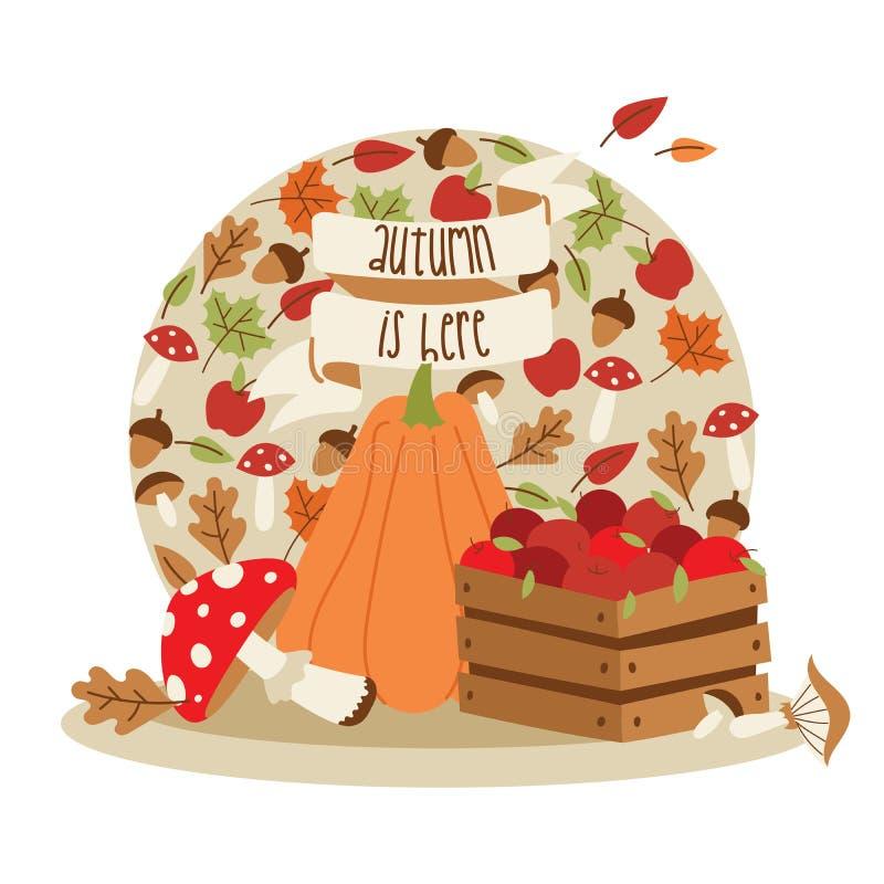 Διανυσματικά στοιχεία διακοσμήσεων χρονικής ημέρας των ευχαριστιών φθινοπώρου Ευτυχής γράφοντας κάρτα πρόσκλησης στοιχείων Κολοκύ ελεύθερη απεικόνιση δικαιώματος