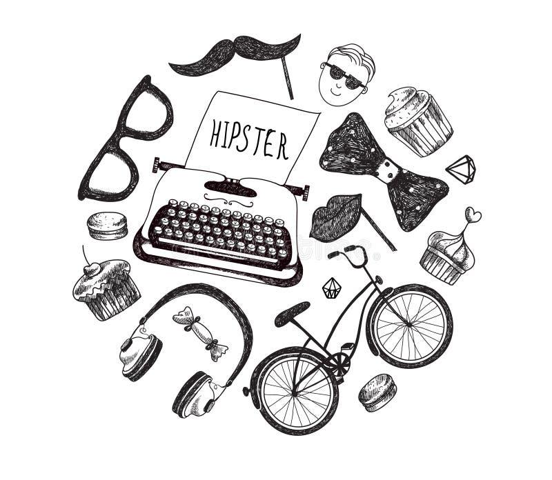 Διανυσματικά στοιχεία και εικονίδια infographics ύφους Hipster που τίθενται για το αναδρομικό σχέδιο Ποδήλατο, γυαλιά ηλίου, must διανυσματική απεικόνιση