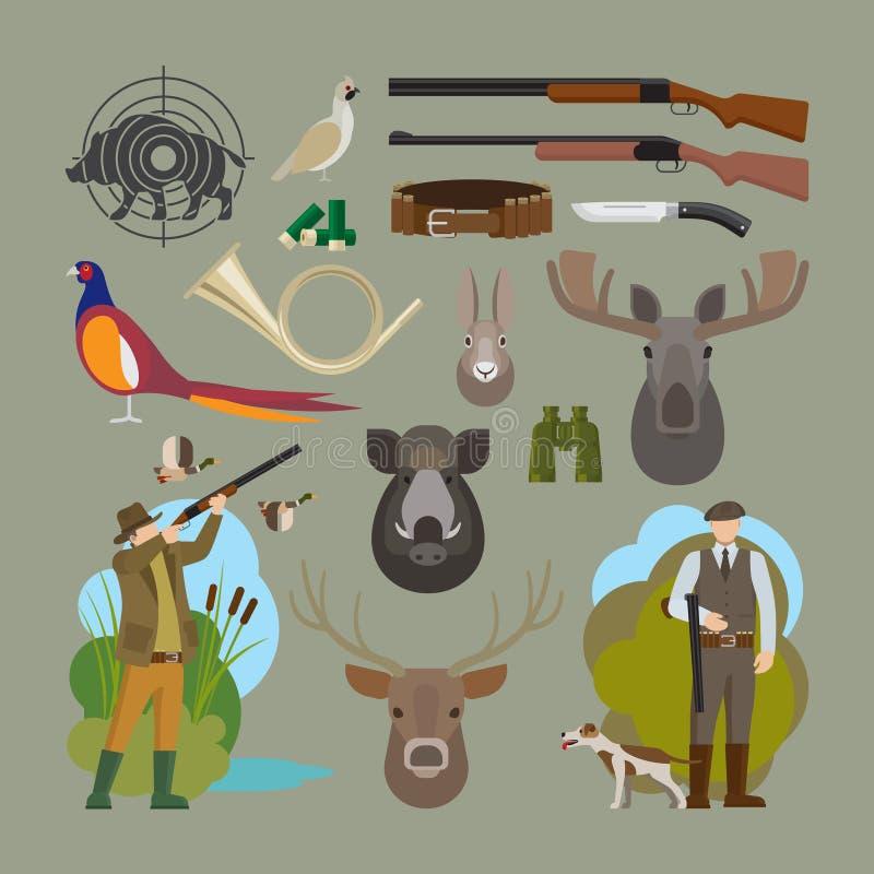 Διανυσματικά στοιχεία κυνηγιού ελεύθερη απεικόνιση δικαιώματος