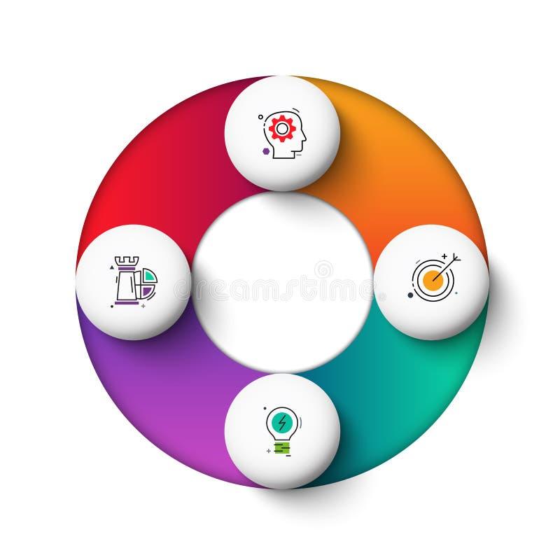 Διανυσματικά στοιχεία κύκλων gradeinte για infographic Επιχειρησιακή έννοια με τις 4 επιλογές, τα μέρη, βήματα ή διαδικασίες διανυσματική απεικόνιση