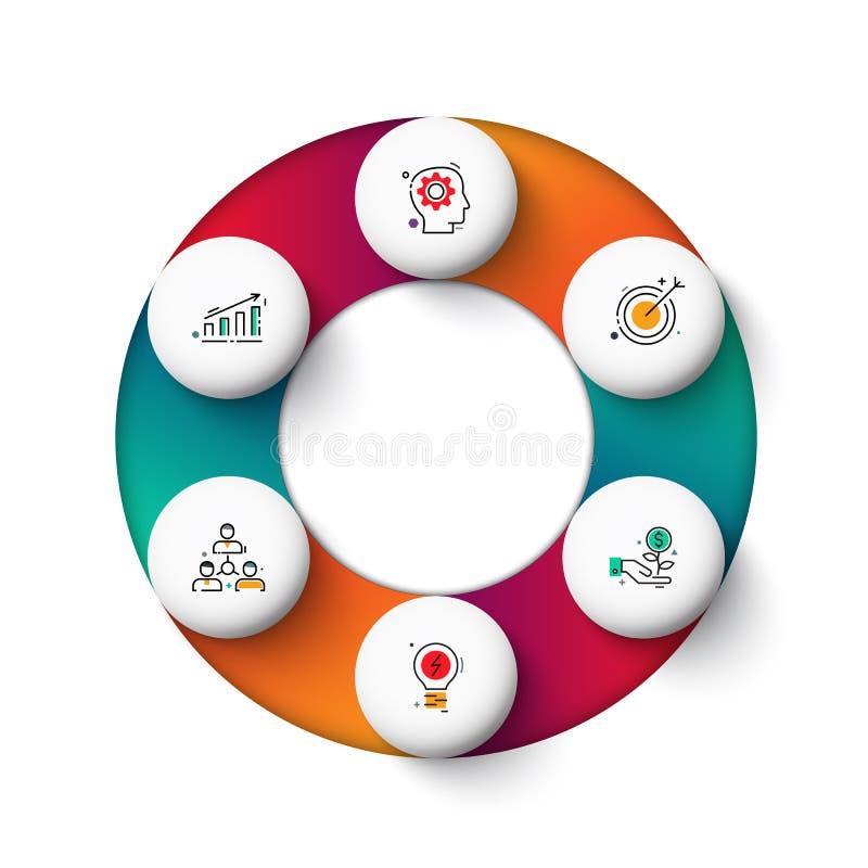 Διανυσματικά στοιχεία κύκλων gradeinte για infographic Επιχειρησιακή έννοια με τις 6 επιλογές, τα μέρη, βήματα ή διαδικασίες απεικόνιση αποθεμάτων